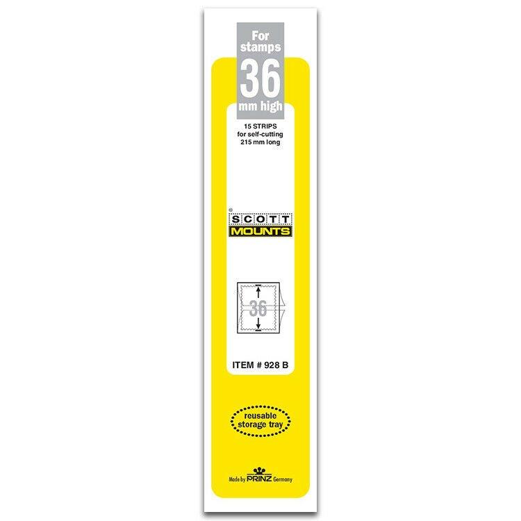 Scott/Prinz Pre-Cut Strips 215mm Long Stamp Mounts 215mmx36mm #928 Black