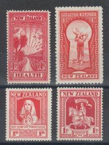 New Zealand Sc B1, B6, B7, B8, MLH. 1929-35 Semi Postals, 4 cplt sets, VLH, F-VF