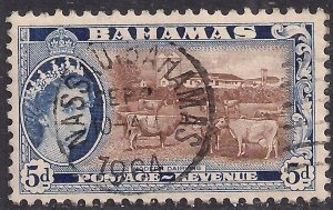 Bahamas 1954 - 63 QE2 5d Brown & Blue used SG 207 ( B707 )