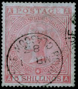 SG130, 5s rose, FINE USED, CDS. Cat £4800. BLUED PAPER. AA