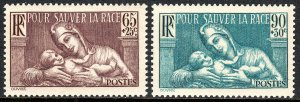 France B64-B65, MNH. Public health work. FRANCE and infant, 1937-1939