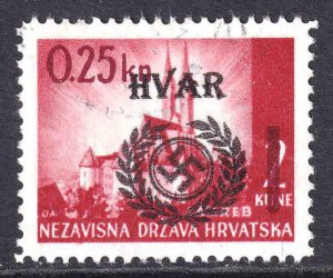 CROATIA 53 WW2 HVAR OVERPRINT CDS VF SOUND