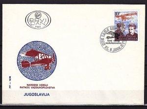 Yugoslavia, Scott cat. 1737. Air Force Day. Bi-plane shown. First day cover. ^