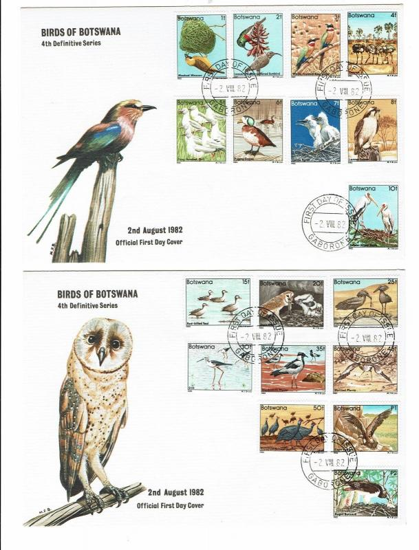 BOTSWANA 1982 BIRD SET ON 2 FIRST DAY COVERS