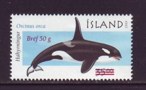 Iceland Sc 944 2001Whale stamp ovptd mint NH