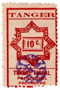 (I.B) France Colonial Revenue : Tangier Duty 10c (provisional)