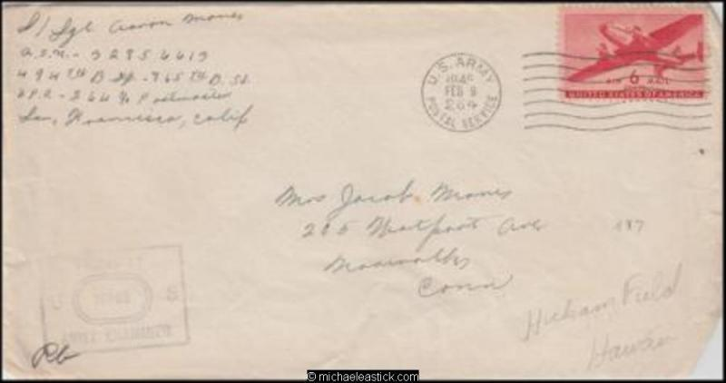 Guam 1945 (Feb) Censored WWII Military Cover to Morinalks CT USA