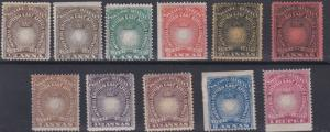 BRITISH EAST AFRICA  1890  S G 4 - 13  VARVALUES TO 1R  MH HINGE REMAINS TO SOME