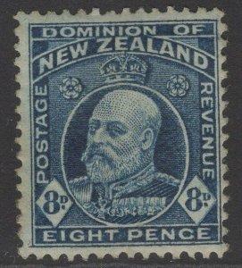 NEW ZEALAND SG404 1916 8d INDIGO-BLUE MTD MINT