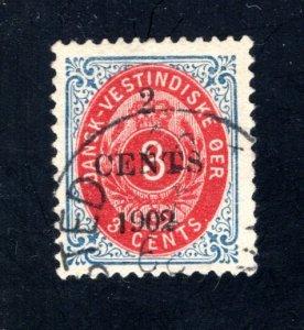 Danish West Indies #24,  F/VF,  Used,   CV $27.50 ....1630020
