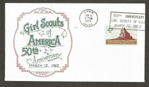 1962 US Girl Scouts Lynn Mass 50th anniversary slogan cancel Boerger ABC