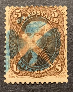 #76 – 1863 5c Jefferson, brown. Used blue cancel.