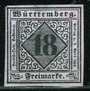 EKF Lot 2003 German State 1851 Michel Wurttemberg 5 reprint Faux