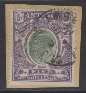 ANTIGUA SG40 1903 5/= GREY-GREEN & VIOLET FINE USED ON PIECE