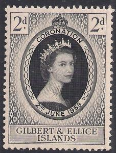 Gilbert & Ellice 1953 QE2 3d Coronation MM SG 63 ( R1159 )