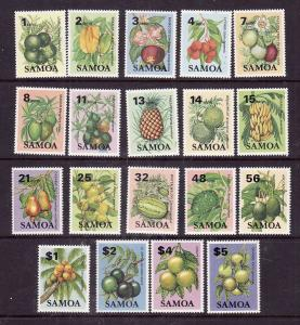 Samoa-Sc#600-18-Unused NH set-Local Fruit-1983-4-