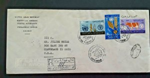 1963 Cairo United Arab Republic To Cleveland OH Registered Airmail Cover