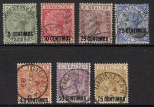 GIBRALTAR SG15/21 1889 SURCHARGE SET USED
