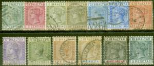 Gibraltar 1889-96 set of 13 SG23-33 (both 25c) Fine Used