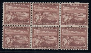 Malta, SG 31w, MNH block of six Watermark Crown to Right of CA variety