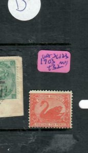 WESTERN AUSTRALIA (P1812B) QV 9D SWAN SG123 MOG  ANTIQUE OVER 100 YEARS IN AGE