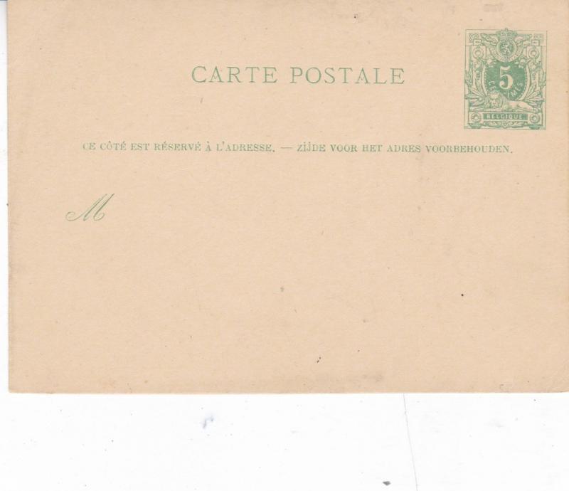 Belgium 5c Postcard Unused VGC