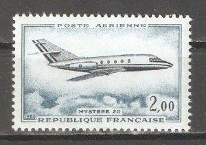 France 1965,Air Mail,Aviation Jet Plane Mystere 20,Scott # C41,VF MNH**OG