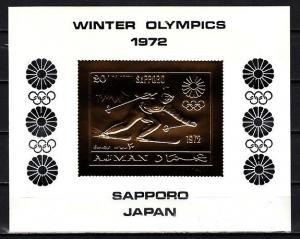 Ajman, Mi cat. 653, BL219. Sapporo W. Olympics, Gold Foil s/sheet. w/o Folder