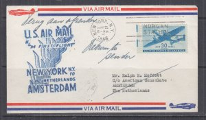UNITED STATES, 1946 KLM First Flight Airmail cover, New York to Netherlands.