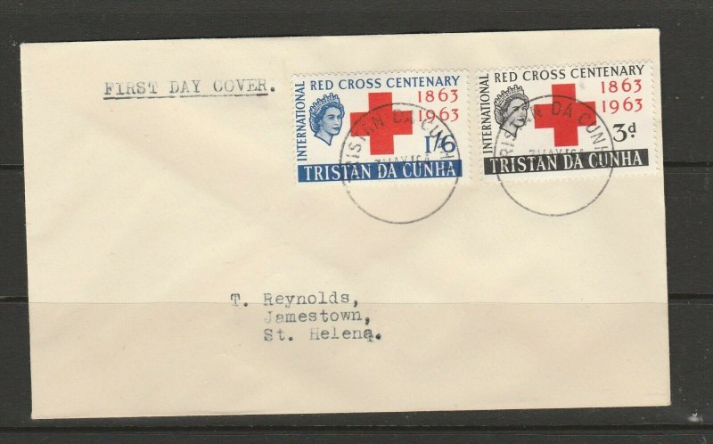 Tristan Da Cunha, FDC, 1963 Red Cross, Plain, cds Used, Typed address
