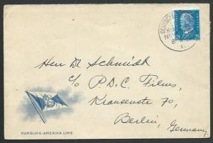 GERMANY 1929 Hamburg-Amerika Line cover, SEEPOST cancel....................59035
