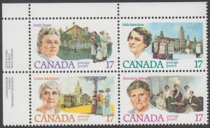 Canada - #882a - With Variety 879i - Canadian Feminists Plate Block -MNH