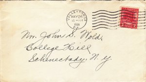 1928, Sc #645, Valley Forge, PA to Schenectady, NY, FDC (S18847)