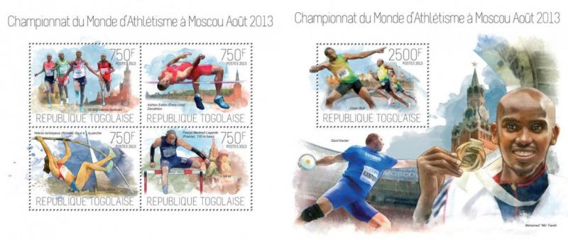 Athletics Leichtathletik Moscow 2013 Usain Bolt Sports Togo MNH stamp set
