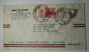 Mexico Airmail Cover 1956 Used Sc# C188 C190 or C210
