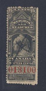 Canada Revenue W&M Stamps #FWM36-15c Used Fine Guide Value = $55.00