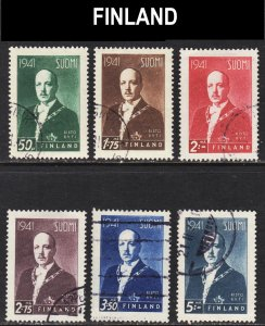 Finland Scott 233-38 complete set F to VF used.