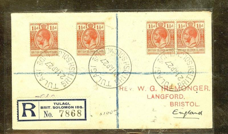 BRITISH SOLOMON ISLANDS (P2909B) 1927 KGV 1 1/2DX4 REG COVER TO ENGLAND
