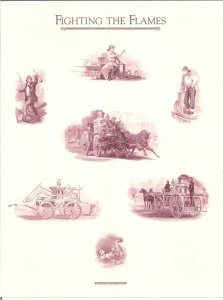 ENGRAVINGS: FIGHTING THE FLAMES ABNC sheet with seven designs & imprint FIREMEN!