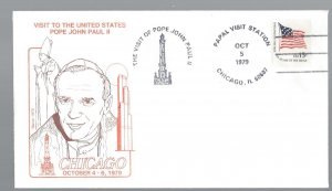 United States, 1598, Visit Pope John Paul II Chicago Souvenir Cover, Used #5-3