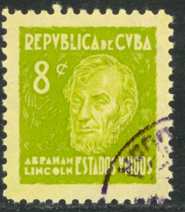 CUBA 1937 8c USA ABE LINCOLN American Writers and Artist Assoc Issue Sc 350 VFU