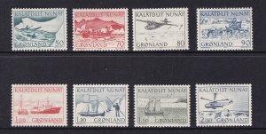Greenland  #78-85  MNH  1971-77   mail transport