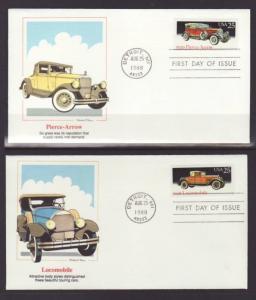 US 2381-2385 Automobiles 1988 Fleetwood S/5 U/A FDC