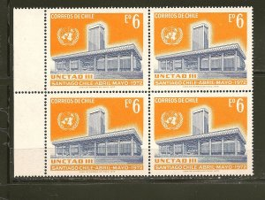 Chile 421 UN Conference Hall Block of 4 MNH