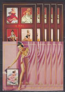 2*5x (10pcs) Art Painting Pin Up Girls imperf -Private Local issue [PL5] not MNH