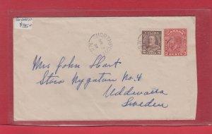 NORTHPORT N.S. Nova Scotia 1937 split ring 5c UPU surface Canada cover >> Sweden