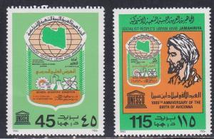 Libya # 871-872, Unesco Emblem & Avicenna, NH, Half Cat.