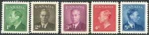 CANADA 289-293 George VI Set of 5, MNH, OG  VF/XF