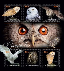 AZERBAIJAN 2017 SHEET OWLS BIRDS azrb17210a