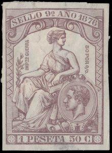 ESPAGNE / SPAIN / ESPAÑA Fiscales 1876 - Póliza Sello 9° 1,50 Pta - (faults)